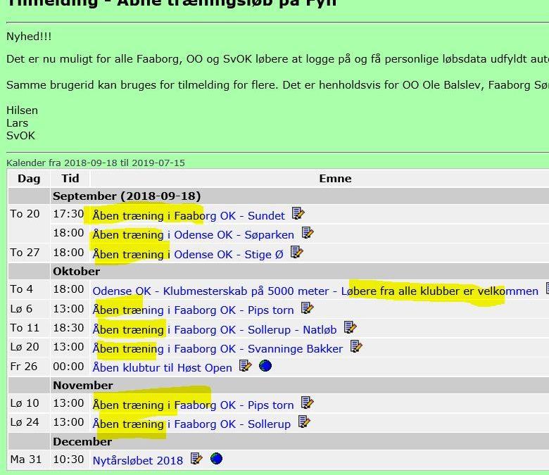 Åbne træninger i Faaborg og Odense